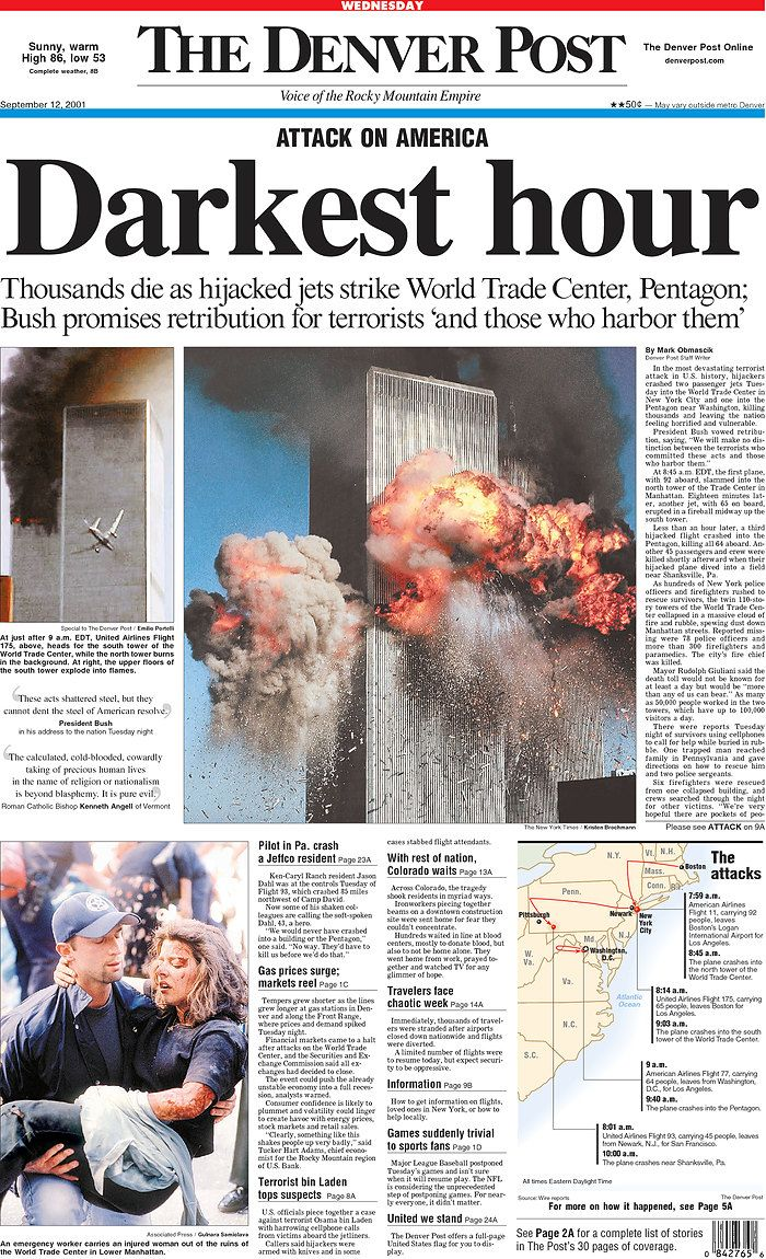 9/11/2001   Newspaper front pages, Historical news ...