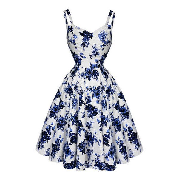 Hearts and Roses London White and Blue Floral 1950s Dress Dresses ($58) ❤ liked on Polyvore featuring dresses, flower printed dress, blue and white dress, gothic prom dresses, gothic lolita dress and vintage day dress