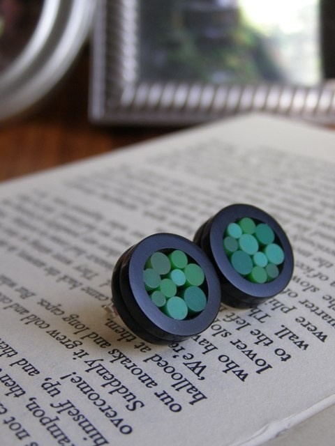 acrylic mosaic earrings - i think i'll try this with polymer clay