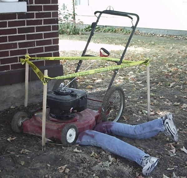 Halloween lawnmower victim