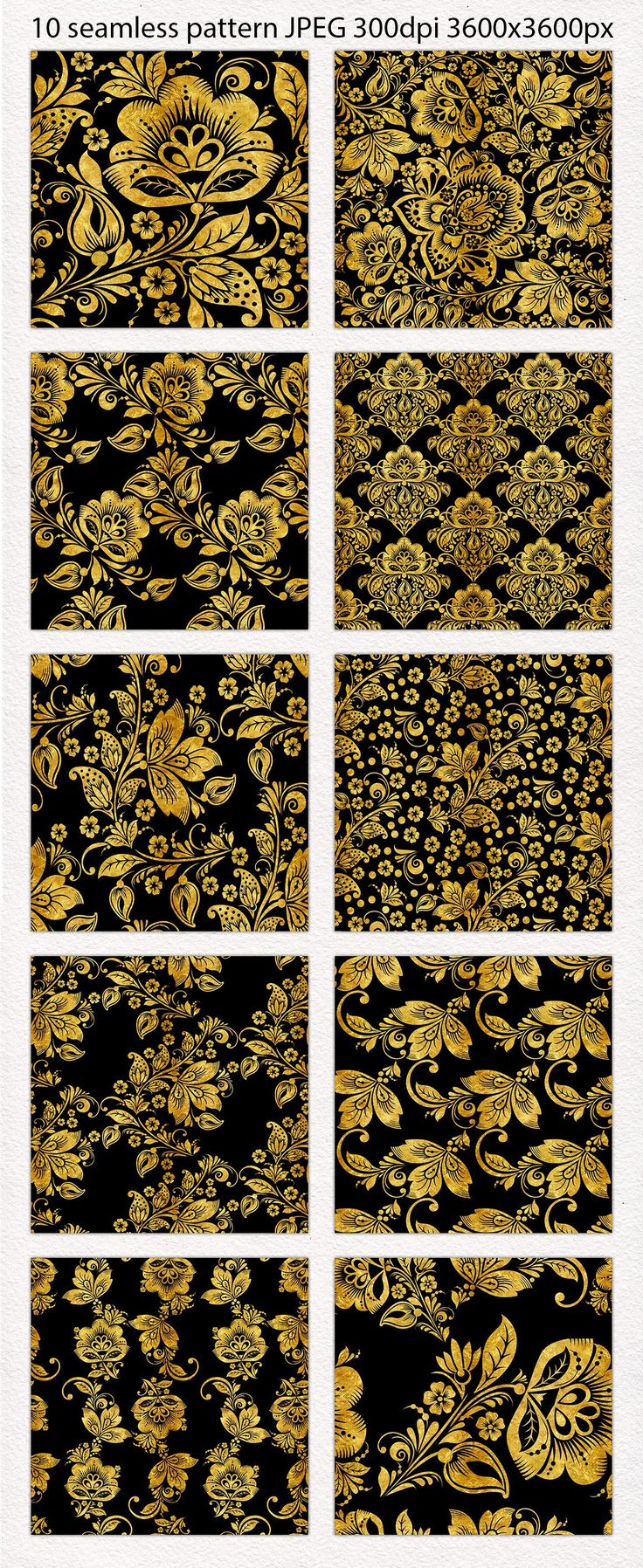 This gold floral set of seamless pattern based on the vintage Russian ornament. Khokhloma.  This gold pack seamless pattern that make lovely paper stationery (posters, business cards, postcards, notebooks, invitation) or home decor (pillows, bedclothes, towels, napkins), for weddings, apparel, merchandise designs, scrapbooking, fashion and so much more.