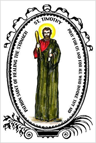 Saint Timothy Patron of Healing the Stomach 4x6 Prayer Card and Psalm Balm Gift Set