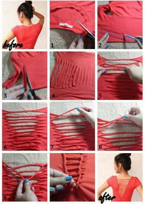 40 simple no sew diy clothing hacks designs and ideas t shirt cutting - T Shirt Design Ideas Cutting