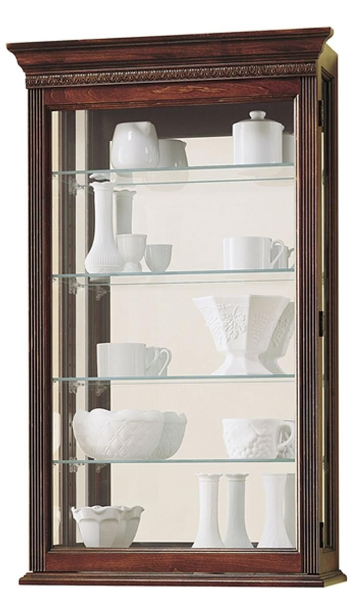 Shelf bookcases memorial wall displays antique white wall display - Wall Display Cabinet W 4 Adjustable Shelves Mirrored Back Cherry Finish