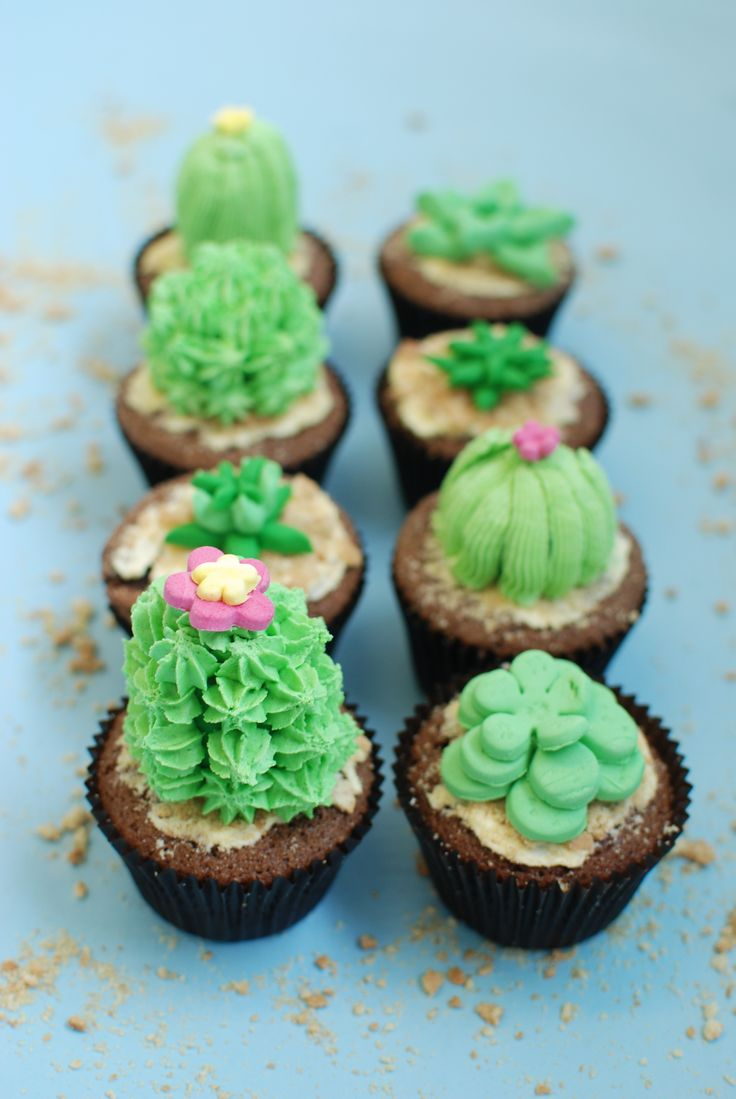 Cactus Cupcakes #cactus #cupcakes #baking #decoration #icing #plants