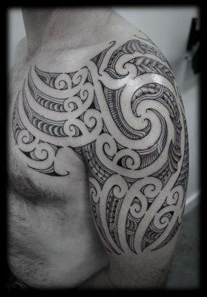 Custom Ta Moko Kirituhi New Zealand Maori Half Sleeve Shoulder and Chest Pec Tattoo Design_tattoo gallery