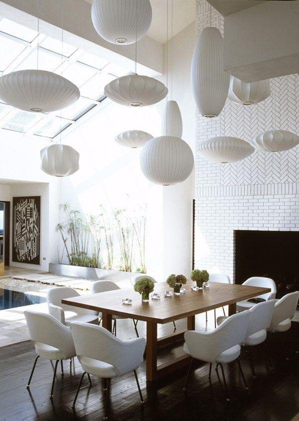 Multiple lanterns & mid century vibe--all in white
