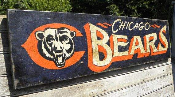 Chicago Bears Sign,hand painted,original,Bears football, sports decor, wall hanging,art on Etsy, $85.00