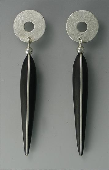 """Ebony Earrings with Silver Inlay, Silver Tops, 14K Posts""  Wood & Silver Earrings    Created by Suzanne Linquist"