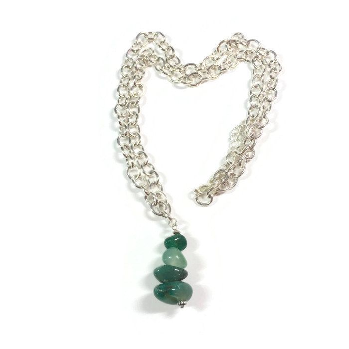 Stacked green rocks necklace, beach necklace, boho necklace, rock jewelry, rock necklace, silver, green, silver necklace, green necklace - pinned by pin4etsy.com