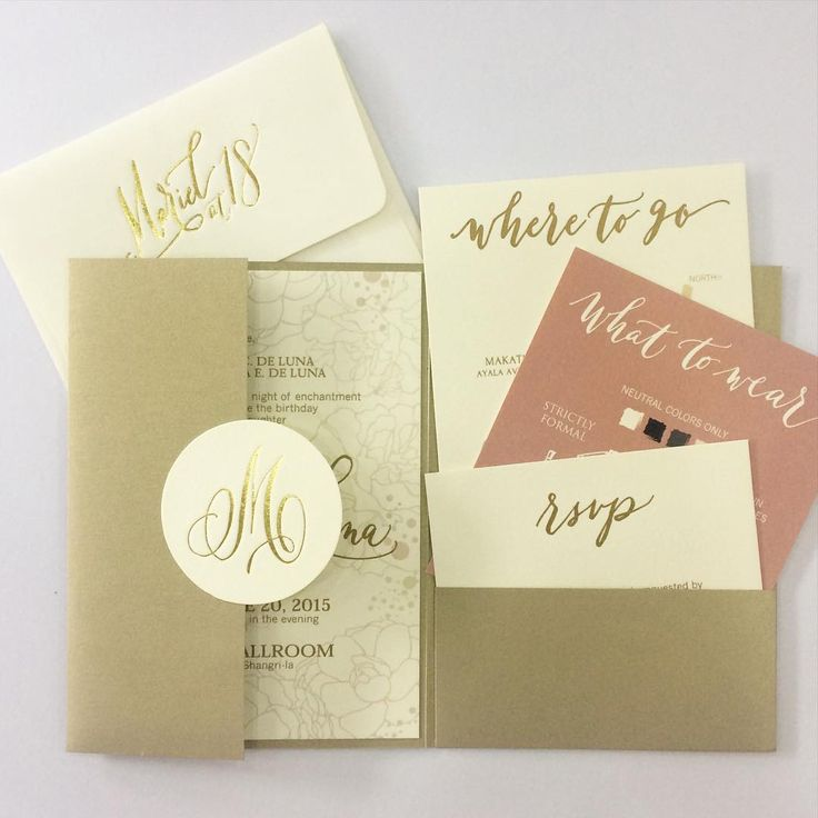 """Pretty in pink and gold-- a young and elegant debut suite! #invitations #inkscribbler"""