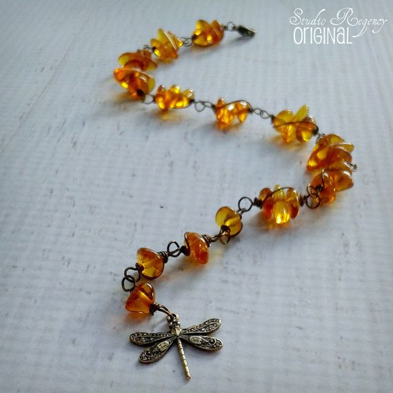 Outlander Bracelet Dragonfly in Amber Bracelet by StudioRegency