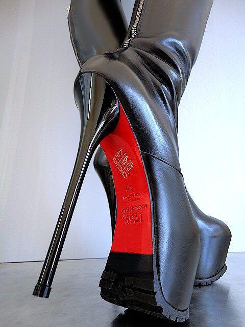NEU 1969 ITALY Luxus Echtleder Stiefel Plateau Sexy High Heels OB7 Boots Leather