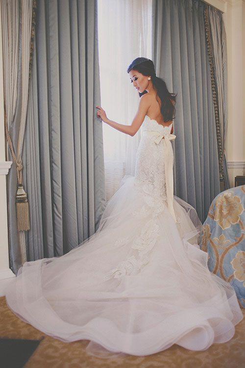 Intimate East-Meets-West Boston Wedding, Bride in Lazaro Wedding Dress | Brides.com | Photo: Katch Studios