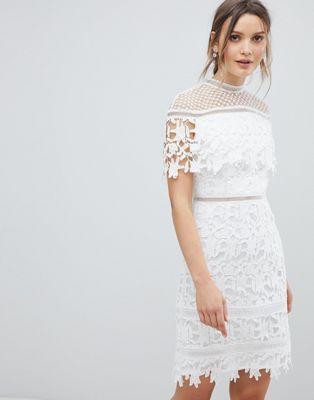 d5bcb4cca81 Chi Chi London Lace High Neck Mini Dress
