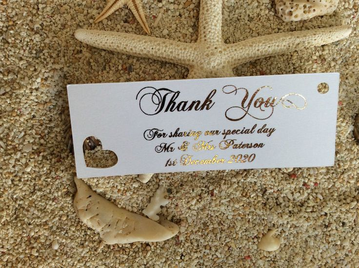 10 White Gift Tags Wedding Favour Bomboniere Personalised Thank You Gold Foil