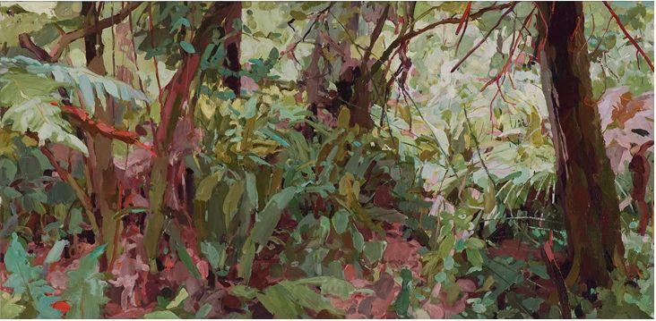 Mary Tonkin, Ahead, Kalorama 2011 oil on linen 50 x 103 cm