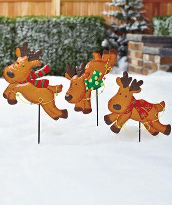 Sets of 3 Metal Holiday Garden Stakes | Christmas yard ...