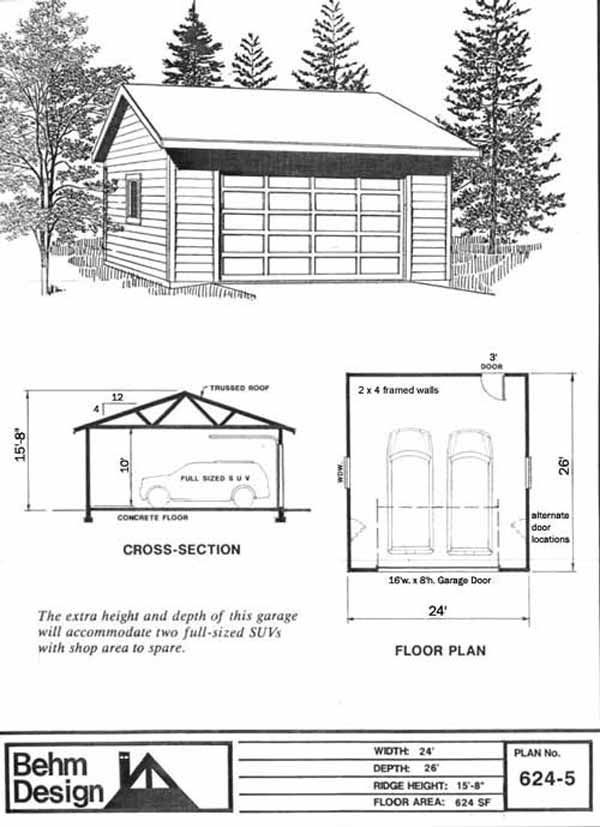 Reverse gable 2 car garage plan 624 4 with 10 ft high for Reverse gable garage