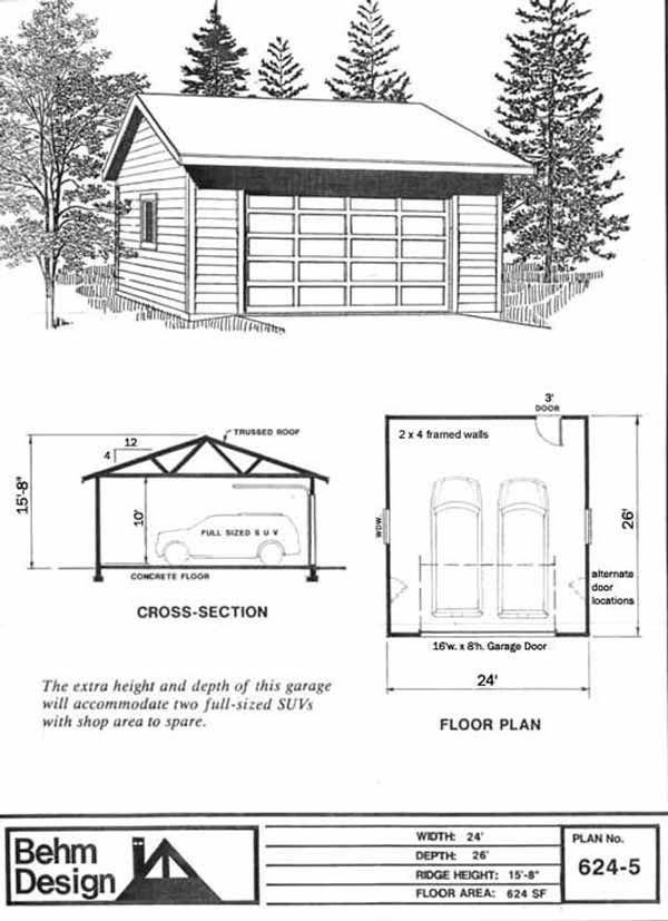 Reverse Gable 2 Car Garage Plan 624 4 With 10 Ft High