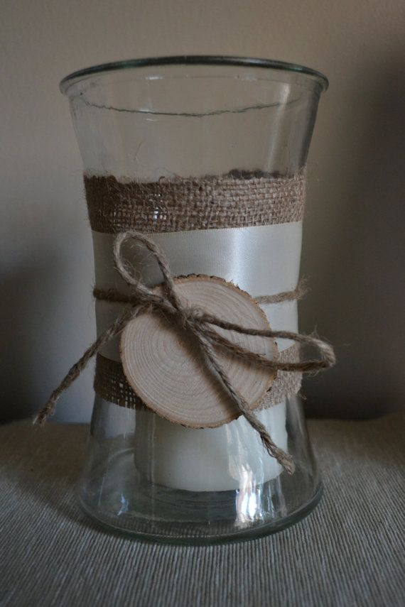 Rustic candle centerpieces by edsonlane on Etsy
