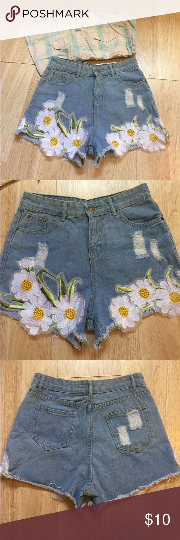 Palmer heritage high waisted shorts High waisted denim shorts; size large (28-29 waist) cute floral embroidery on sides Shorts Jean Shorts