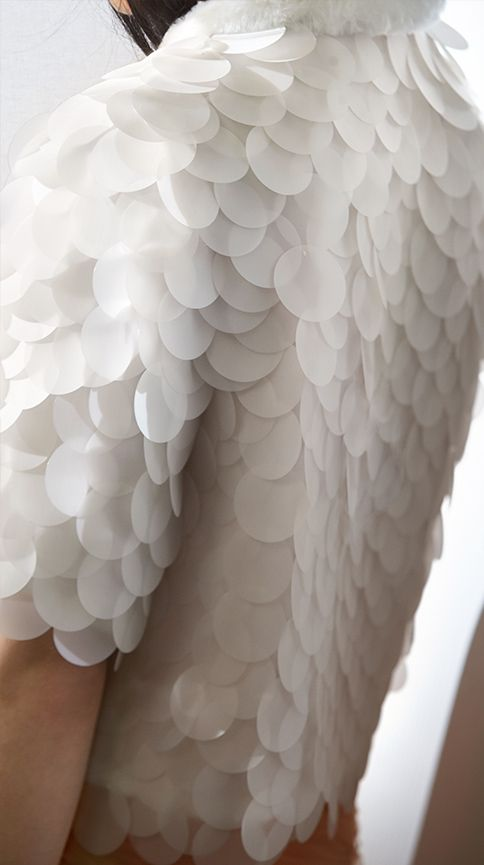 Textured Embellishment - sequinned jacket with white scale textures; fashion design detail // Burberry Spring 2015