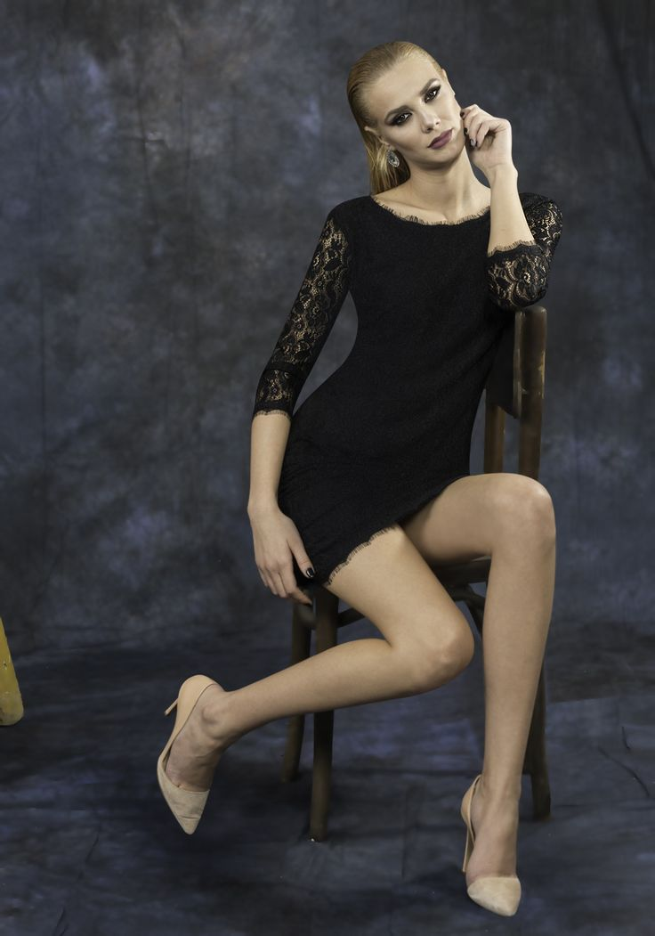 Short black dress made with lycra lining and lace . The little black dress is a must-have in your wardrobe and can be worn both at more formal parties as well as at cocktail parties.