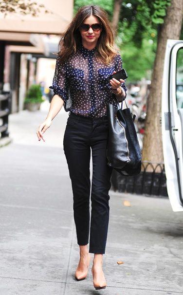 Miranda Kerr. Equipment shirt, Céline bag, Lanvin shoes, and Prada sunglasses