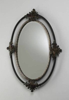 TUSCAN Wrought Iron Twisted Rope Oval WALL MIRROR Scrolled Old World Leaf NEW