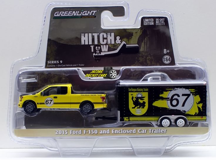 1:64  GREENLIGHT HITCH & TOW SERIES 9 - 2015 FORD F-150 and ENCLOSED CAR TRAILER #Greenlight #Ford