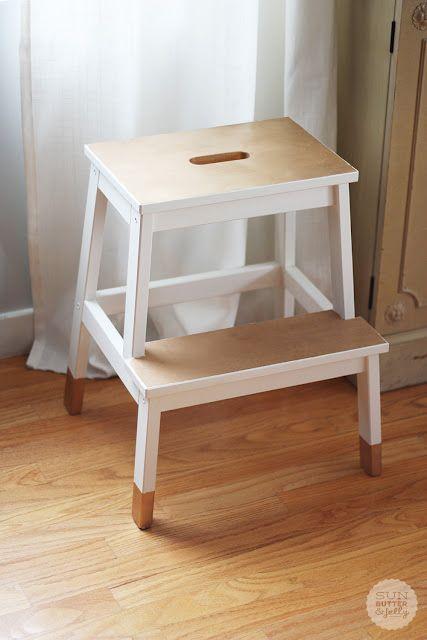 diy painted stool, dipped furniture look