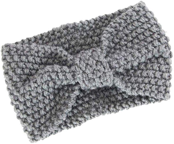 Ankola winter knitted headband elastic bow-knot hair band headwrap hat cap ear warmer
