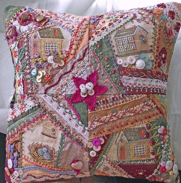 Encrusted Crazy Quilt Pillow ~By TextileTraveler