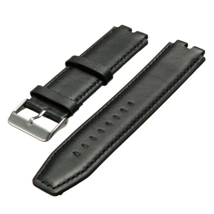 New Smart Watch Black 22mm Leather Wristwatch Bands Strap Watchband Stainless Steel Tang Buckle For Pebble Steel 2