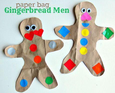 paper bag gingerbread man craft idea