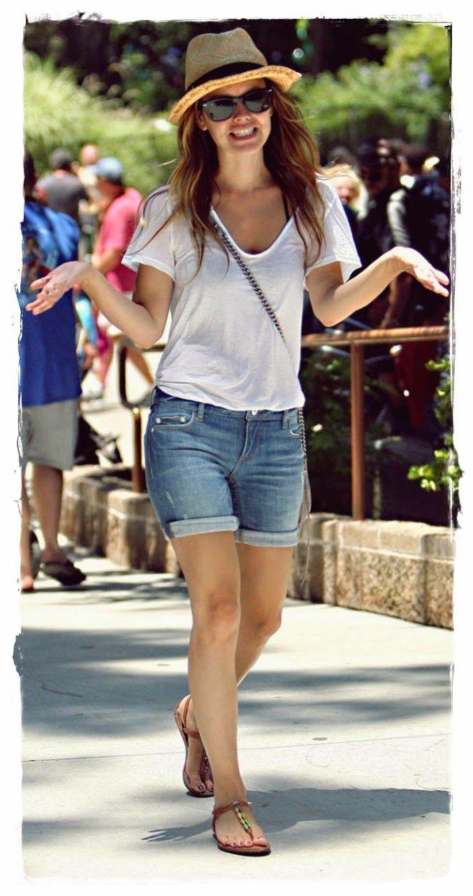 #Rachel #Bilson #Denim #Shorts Street Snapshot 03