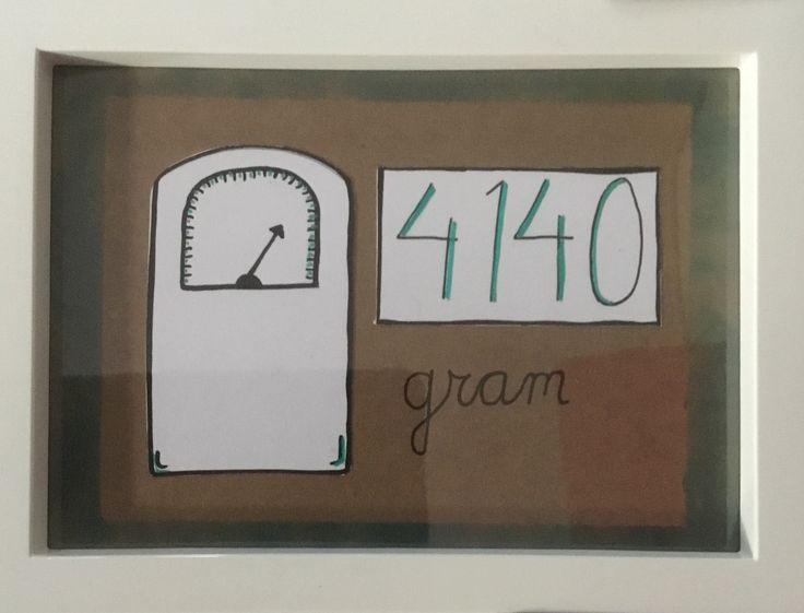 Kraamcadeau voor eenlingen, lijstje 6, detailfoto. Geboortegewicht