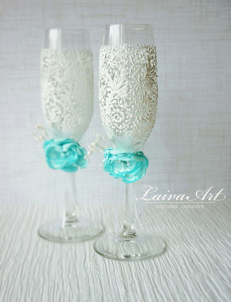 Mint Wedding Champagne Flutes Champagne Glasses Mint Wedding Aqua Wedding Turquoise Wedding - pinned by pin4etsy.com