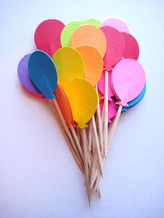 24 Bright Balloon Party Picks Cupcake by ThePrettyPaperShop