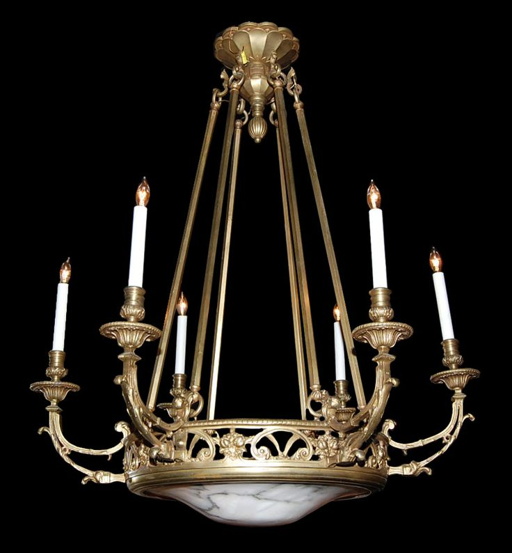 French Empire Bronze Chandelier; late 19th century