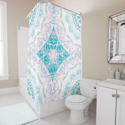 #vintage - #Turquoise Pink White Damask Classic Shower Curtain