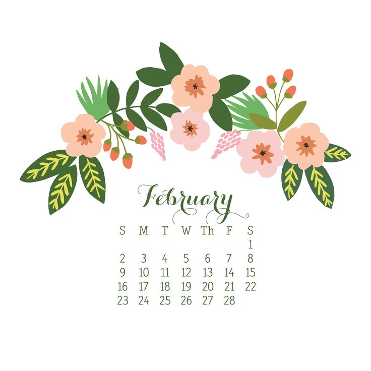 February Wallpaper Calendar | Computer, iPad, and Phone | Freebie Download | Sweet Tea Paperie
