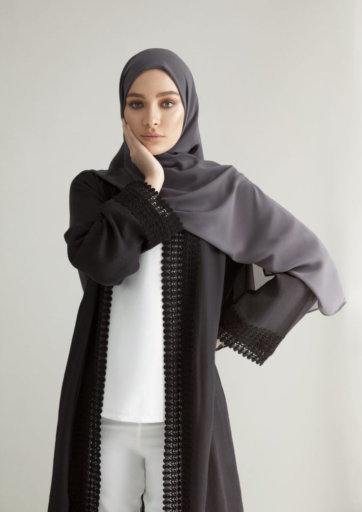 INAYAH - Black Ramie Kimono with Lace, White Crepe Top and White Straight Leg Trousers