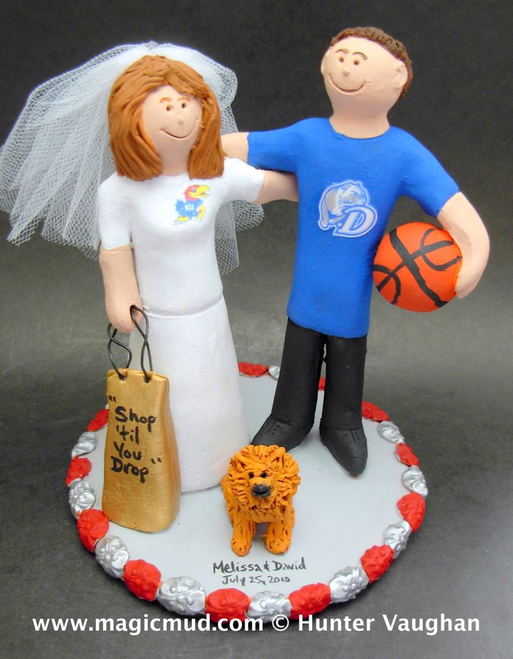 University of Kansas Bride Marries Drake U Groom Wedding Cake Topper by http://magicmud.com/Wedding%20photos.htm magicmud@magicmud.com  1 800 231 9814  https://www.facebook.com/PersonalizedWeddingCakeToppers  https://twitter.com/caketoppers  #wedding #cake #toppers #custom#personalized #Groom #bride #anniversary #birthday#weddingcaketoppers#cake toppers#figurine#gift#wedding cake toppers#basketball#universityofkansas