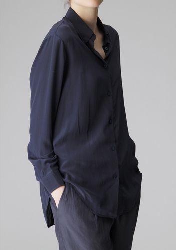 blue: Stress Free, Colour, Relaxing Shirts, Navy Shirts, Colors, Loose Blouses, Black Shirts, Silk Blouses, Silk Shirts