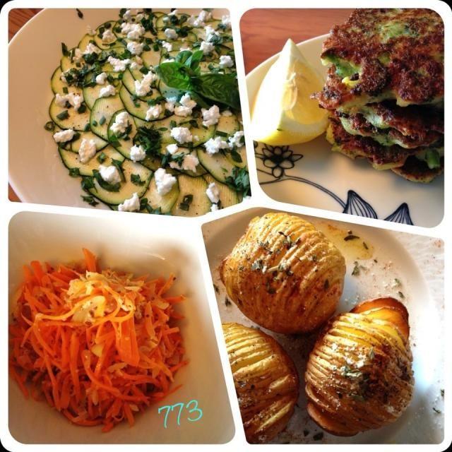 my best friend cooked for me ありがたいわねʕ-̼͡-ʔ もちろんわたくしも手を下しましたわよʕ-̼͡-ʔ  簡単に手に入る野菜で4品  ズッキーニのカルパッチョ ブロッコリとパルミジャーノのフリッタ にんじんとツナのサラダ ハッセルバックポテト - 150件のもぐもぐ - #ハッセルバックポテト ・ズッキーニのカルパッチョ、にんじんサラダ、ブロッコリのフリッタ by sevensea73