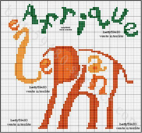 animaux - animals - éléphant - point de croix - cross stitch - Blog : http://broderiemimie44.canalblog.com/