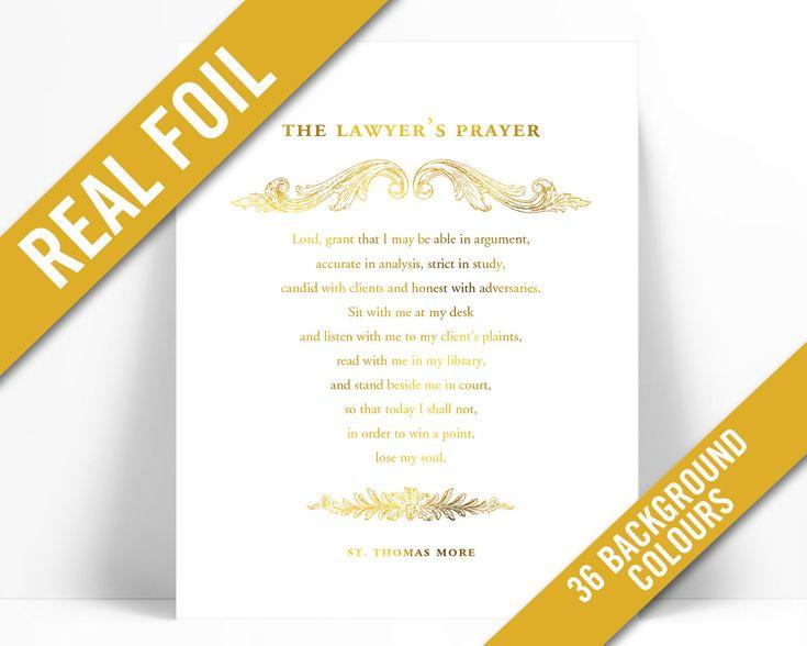 Lawyer S Prayer Thomas More Gold Foil Art Print Gift For Etsy Art Print Gifts Gold Foil Art Print Foil Art