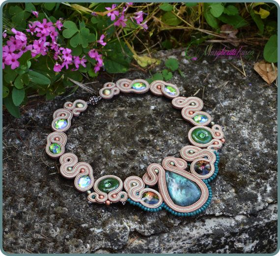 Danae handmade soutache necklace with labradorite by 75marghe75